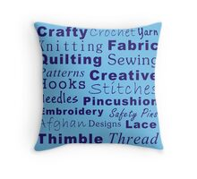 Crafty Text - Blue (inverted) Throw Pillow