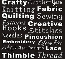 Crafty Text (black & white - inverted) by Irena Paluch
