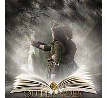 Outlander book with Jamie and Claire Photographic Print
