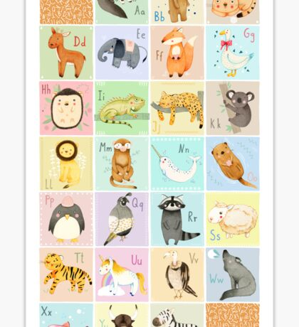 English Animal Alphabet Sticker