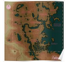 Fallout 4 Blank Map with Regions Poster