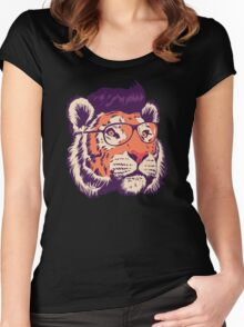 Tiger Head Illustration Women's Fitted Scoop T-Shirt