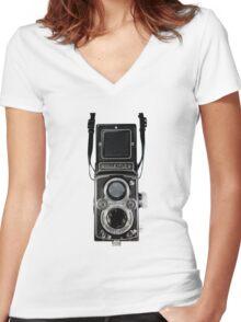 Vintage Rolleiflex Automat MX-EVS Model K4B Twin Lens Film Camera Women's Fitted V-Neck T-Shirt