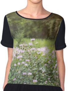Purple Flower Field Chiffon Top