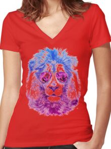 Tackle The Gazzle Says Mr. Lion Women's Fitted V-Neck T-Shirt