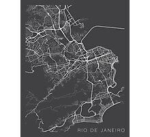 Rio De Janeiro Map, Brazil - Gray Photographic Print
