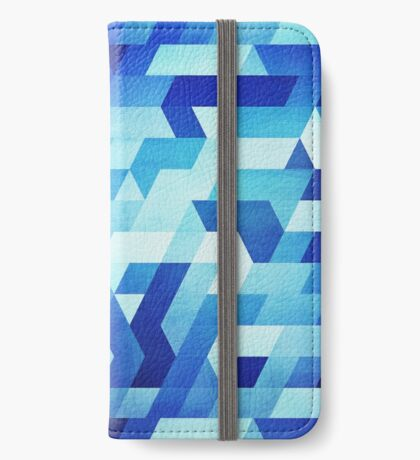 Abstract geometric triangle pattern (futuristic future symmetry) in ice blue iPhone Wallet/Case/Skin