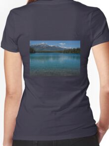The Crystal Clear Waters of Lac Boisvert Women's Fitted V-Neck T-Shirt