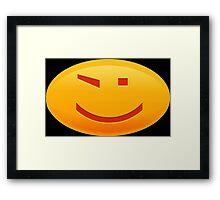 Smiley Winking on Black Framed Print