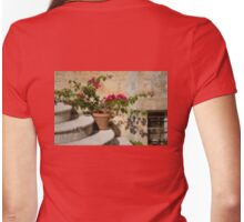 Flowerpot on Stairs in Kolcura, Croatia Womens Fitted T-Shirt