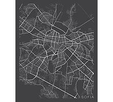 Sofia Map, Bulgaria - Gray Photographic Print