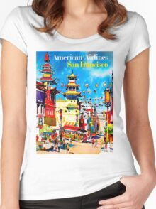 """AMERICAN AIRLINES"" Fly to San Francisco Advertising Print Women's Fitted Scoop T-Shirt"