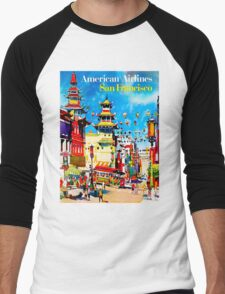 """AMERICAN AIRLINES"" Fly to San Francisco Advertising Print Men's Baseball ¾ T-Shirt"