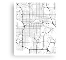 Calgary Map, Canada - Black and White Canvas Print