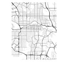 Calgary Map, Canada - Black and White Photographic Print