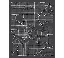 Edmonton Map, Canada - Gray Photographic Print