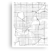 Edmonton Map, Canada - Black and White Canvas Print