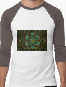 Peacock Green mandala design Men's Baseball ¾ T-Shirt