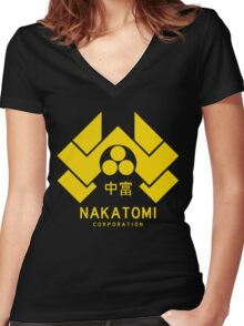 Nakatomi Corporation Women's Fitted V-Neck T-Shirt