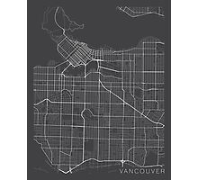 Vancouver Map, Canada - Gray Photographic Print
