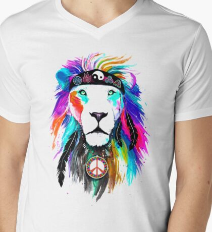 King Lion Mens V-Neck T-Shirt