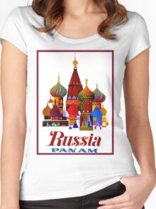 """PAN AM AIRWAYS"" Fly to Russia Advertising Print Women's Fitted Scoop T-Shirt"