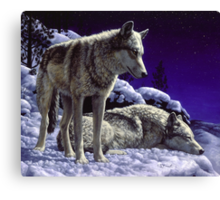 Night Watch - Wolves Oil Painting Canvas Print