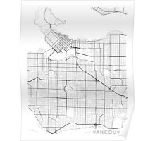 Vancouver Map, Canada - Black and White Poster