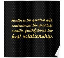 "Health is the greatest... ""Buddha"" Inspirational Quote Poster"