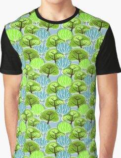 Vintage, Retro Pattern of Trees, in blue and green Graphic T-Shirt