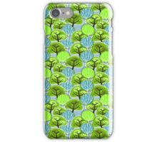 Vintage, Retro Pattern of Trees, in blue and green iPhone Case/Skin