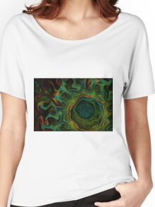 Peacock green fractal demstone Women's Relaxed Fit T-Shirt