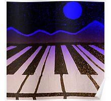 Pianolandscape (blue) Poster