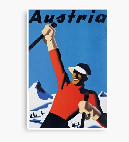 Vintage Austria Winter Sport Skiing Travel Poster Canvas Print