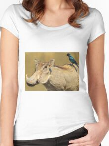 Hitching a Ride - Warthog and Starling - Wild Africa Women's Fitted Scoop T-Shirt
