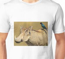 Hitching a Ride - Warthog and Starling - Wild Africa Unisex T-Shirt