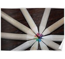 Coloured school pencil rainbow Poster