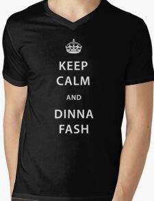 CUSTOMISABLE Keep Calm and Dinna Fash Outlander WHITE FONT Mens V-Neck T-Shirt