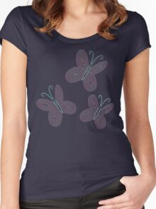 Ornate Fluttershy Cutie Mark Women's Fitted Scoop T-Shirt