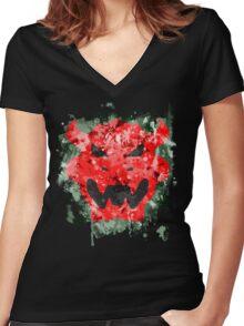 Bowser Emblem Splatter Women's Fitted V-Neck T-Shirt