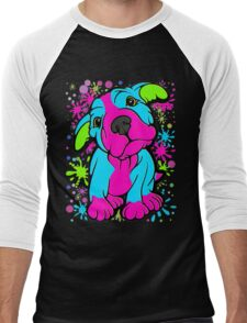 Colourful Pit Bull Puppy  Men's Baseball ¾ T-Shirt
