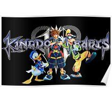 Kingdom Hearts - Sora, Donald, Goofy with logo Poster