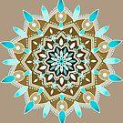 beige and brown  and aqua mandala by resonanteye