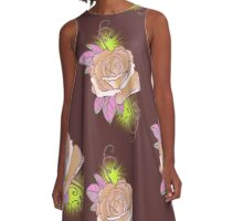 peach rose tattoo shirt, with yellow A-Line Dress