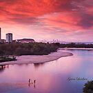 Red sunset, blue planet by flexigav