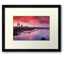 Red sunset, blue planet Framed Print