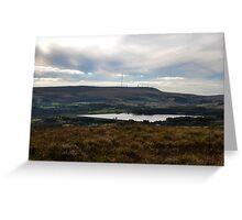 Winter Hill Looking Across Delph Reservoir. Greeting Card