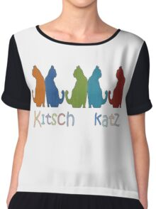Kitsch Cats Silhouette Cat Collage Pattern Isolated Chiffon Top