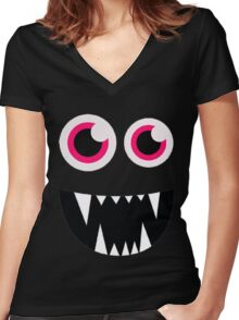 Monster Cartoon Tshirts Women's Fitted V-Neck T-Shirt
