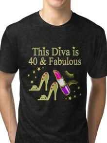 GOLD SPARKLING FABULOUS 40TH DESIGN Tri-blend T-Shirt